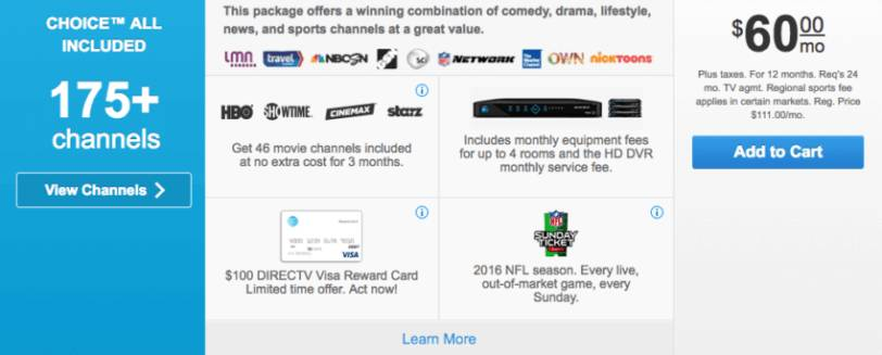 Directv choice package